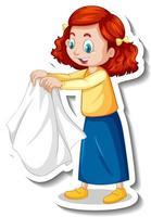 Sticker a girl drying cloth cartoon character vector