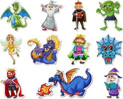 Sticker set with different fantasy cartoon characters vector