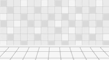Empty white room with white tiles floor and wall vector