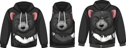 conjunto de diferentes chaquetas con plantilla de oso negro vector
