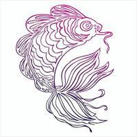 Vector illustration of ornamental fish outline