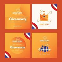Kingsy day celebrations with giveaway design template. vector