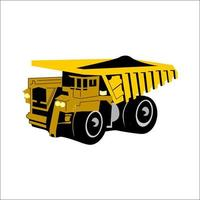 Vector illustration Dump truck with coal isolated backgroud