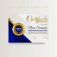 Modern gradient color certificate template design with gold color vector