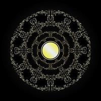 circle golden flourish patterns vector