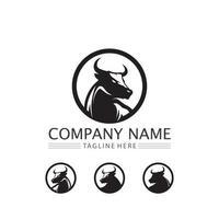 Bull and buffalo head cow logo design vector animal horn