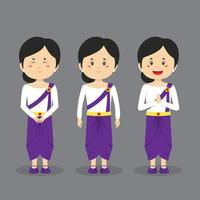 Cambodia Character with Various Expression vector