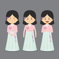 personaje de corea del sur con varias expresiones. vector