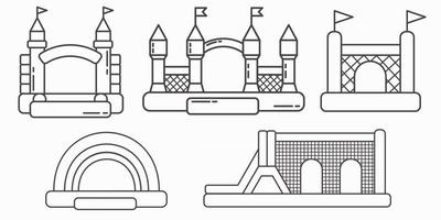 Set of bouncy inflatable castles. Tower and equipment vector