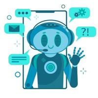 Smiling chat bot character robot helping solve a problems. vector