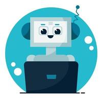 Smiling cute robot chat bot. Support service concept. Vector