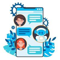 Chatbot concept. Users chatting with cute robot chat bot vector