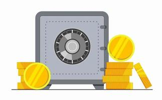 Bank safe box with money and coins. Security cash savings vector