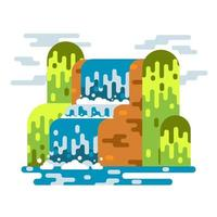 Waterfall landscape. Mountain river with cascade. Vector flat