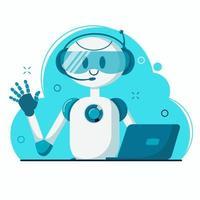 Smiling chat bot character robot vector