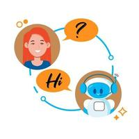 Chatbot concept. Woman chatting with cute robot chat bot. vector