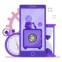 Mobile online banking for deposit. vector