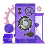 Mobile online banking for deposit. Saving and increasing money. Flat vector