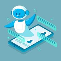Smiling chat bot character robot helping solve a problems. For website vector