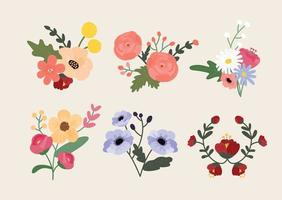 floral decoration. Hand drawing style flower illustration. vector