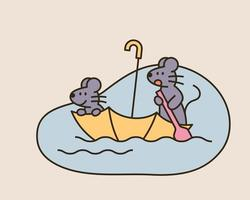 Two cute mice are crossing a puddle in an umbrella boat. vector