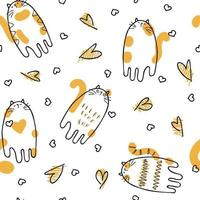 Doodle style vector seamless pattern of cats and hearts.