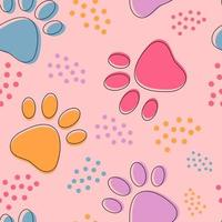 Cute seamless pattern background with colorful pets paws vector