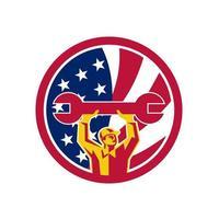 mechanic lifting spanner USA Flag mascot retro vector