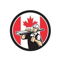 carpenter lumber walking with thumbs u Canada Flag mascot retro vector
