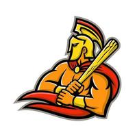guerrero troyano con mascota de bate de béisbol retro vector