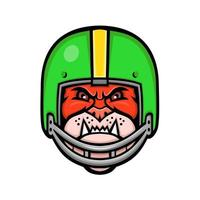bulldog wearing american football helmet mascot retro vector