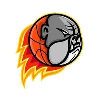 bulldog basketball mascot retro vector