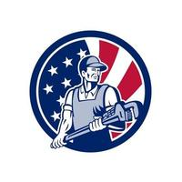 plumber with wrench USA Flag mascot retro vector