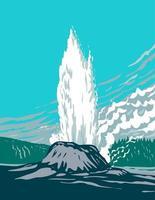 géiser del castillo en el parque nacional de yellowstone wyoming wpa poster art vector