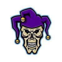 jester skull front mascot retro vector