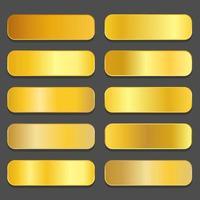 Yellow gold gradients Golden metallic gradients vector