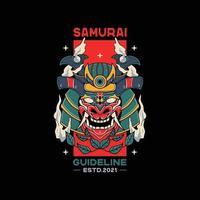 samurai helmet illustrations with skull vector