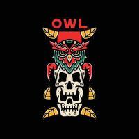 Owl skull illustrations vector