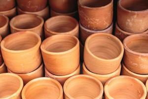 Flower pots that are stacked in layers. photo