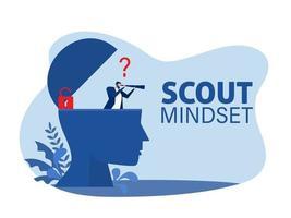 Businessman  through a telescope on human head scout mindset concept vector