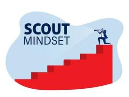 Businessman through a telescope on stair step scout mindset concept vector