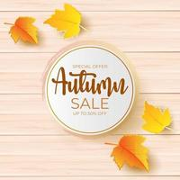 autumn sale promotion design with leaves over wooden board. vector
