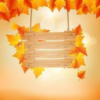 autumn background with wooden board. vector