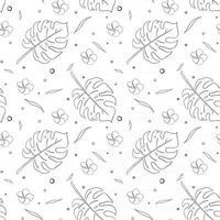 Rainforest Plants Seamless Pattern Line Art vector