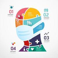 Human face shield shape jigsaw. Concept Design infographic vector