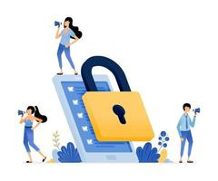 mobile apps security device to protect user data from theft and fraud vector