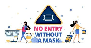 warning signs to remind people to wear masks at shopping and traveling vector