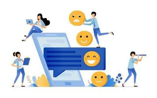 give emoticons in comment for feedback and satisfaction of service vector