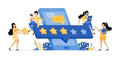 rating and review of user satisfaction in mobile apps development vector
