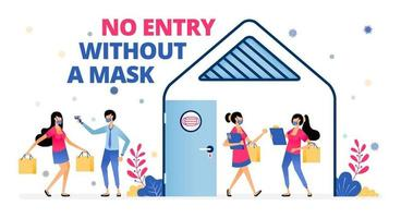 warning keep wearing masks complying with health protocol meeting vector